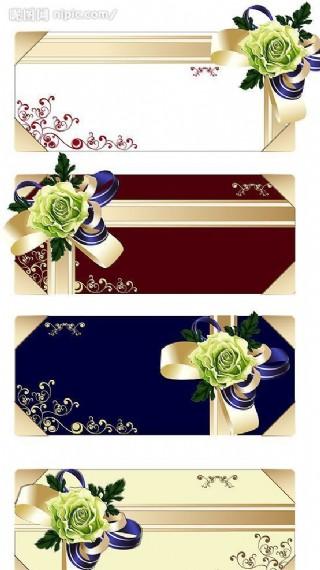 花朵絲帶禮品卡矢量素材圖片